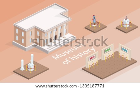 Museum building and exhibition isometric illustration. Isolated gallery elements with history pictures and exhibits of warrior armor or antique culture architecture on pedestal stands