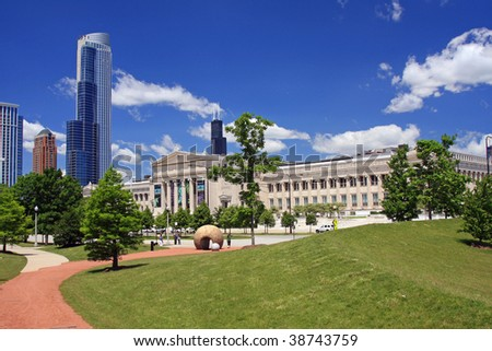 Museum Campus with new highrise construction, in Chicago - stock photo