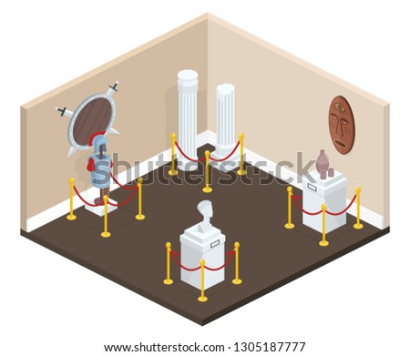 Museum exhibition hall in cross section illustration of gallery with exhibits on pedestal stands surrounded by red rope borders. Warrior armor, antique culture vase or architecture pillars