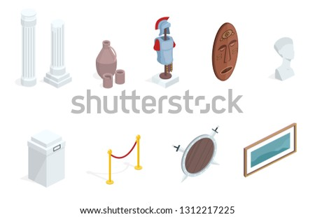 Museum exhibition isometric exhibits elements illustration. Isolated set of historical warrior armors, tribal mask or ancient vase and picture gallery with pedestal stands and rope border