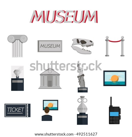Museum icons flat set of sign canvas barrier isolated  illustration