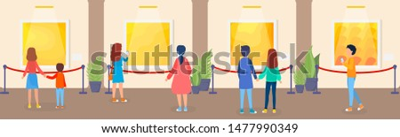 Museum interior. People looking at famous classical exhibits. Collection of famous paintings. Idea of history and education. Isolated  flat illustration
