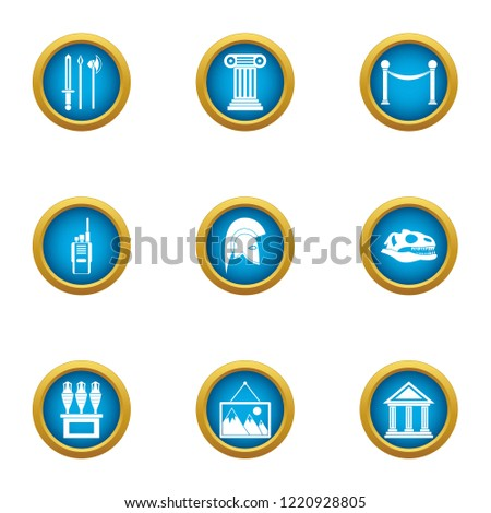 Museum of antiquities icons set. Flat set of 9 museum of antiquities icons for web isolated on white background