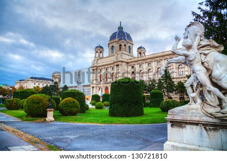 Museum of Natural History in Vienna, Austria in the evening