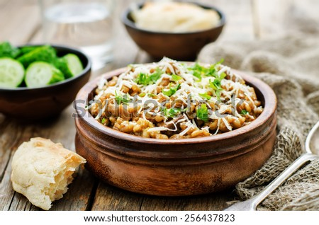 mushroom and barley stew with cheese on a dark wood background. tinting. selective focus