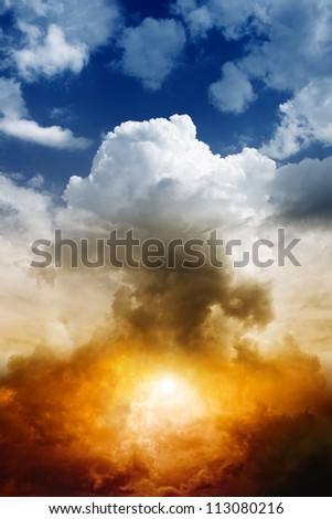 Mushroom cloud from nuclear bomb explosion