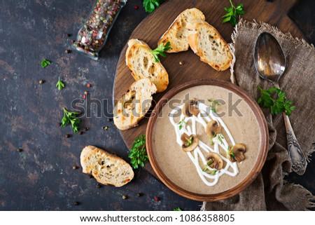 Mushroom cream soup. Vegan food. Dietary menu. Top view. Flat lay.