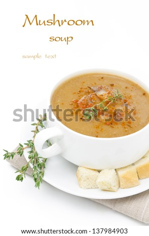 Mushroom cream soup with croutons and thyme isolated on a white background