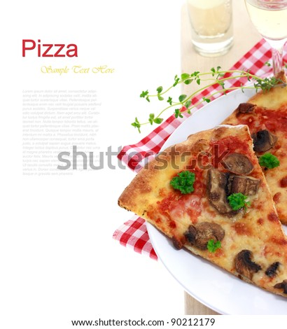 Mushroom pizza on red checkered kitchen cloth