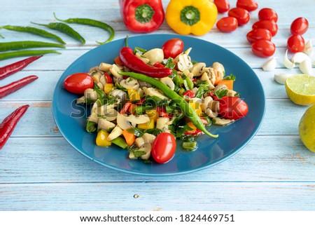 mushroom salad with vegetables - healthy food, healthy life - sebzeli mantar salatası Stok fotoğraf ©