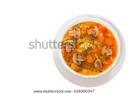 mushroom soup with rice and vegetables. top view. isolated on white #636000347