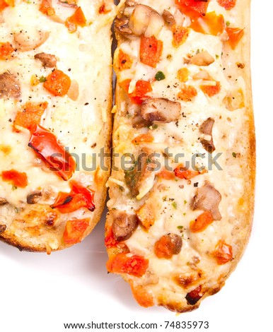 Mushrooms baguette with cheese baked in the oven