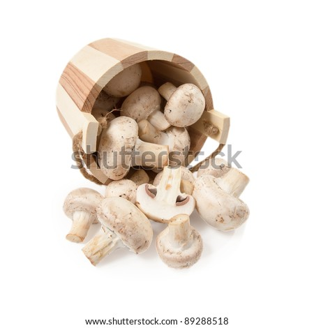 mushrooms champignon scattered from a wooden bucket  isolated on a white background