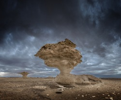 Mushrooms rock formations in the White Desert in Egypt. The limestones are located nearby Farafra Oasis in the western desert, egyptian eastern Sahara