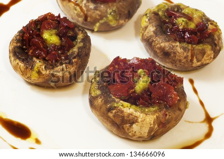 mushrooms stuffed with ham and liver