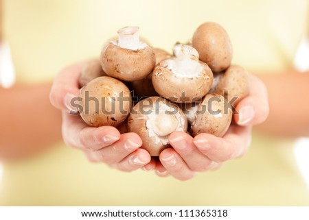 Mushrooms. Woman showing holding brown mushrooms in closeup. Eat fresh and healthy.