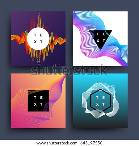 Music album, graphic color wave motion abstract backgrounds. Cover for music album with line wave, illustration of motion sound wave