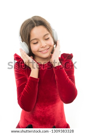 Music always with me. Little girl listen music wireless headphones. Online music channel. Girl little child use music modern headphones. Listen for free new and upcoming popular songs right now. #1309383328