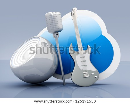 Music and Cloud computing. 3D rendered illustration.