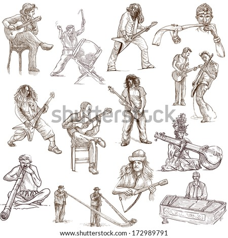 Music and Musicians around the World (set no.1, white set) - Collection of an hand drawn illustrations. Description: Full sized hand drawn illustrations drawing on white background.