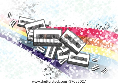 music audio cassettes on abstract background