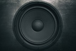 Music background, audio speaker in grunge style