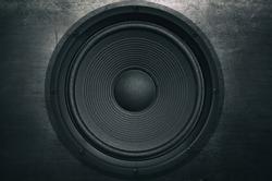 Music background, audio speaker in grunge style