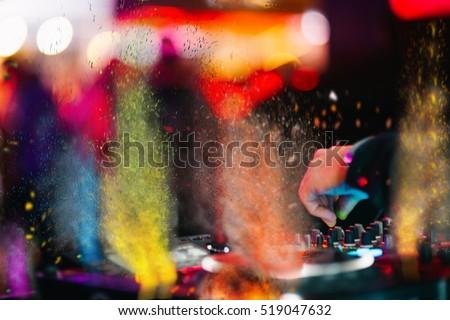Stock Photo Music Background DJ Night Club Deejay Record Player Retro