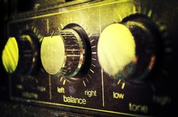Music background, grunge old amplifier
