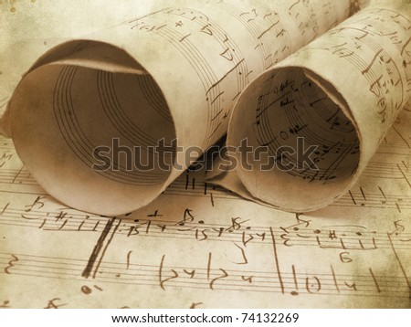 Music background in grunge style. Old art documents concept. - stock photo