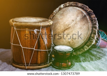 9d6fb232d Music background with ethnic percussion musical instruments
