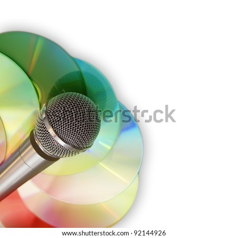 Music background with microphone and discs isolated on white