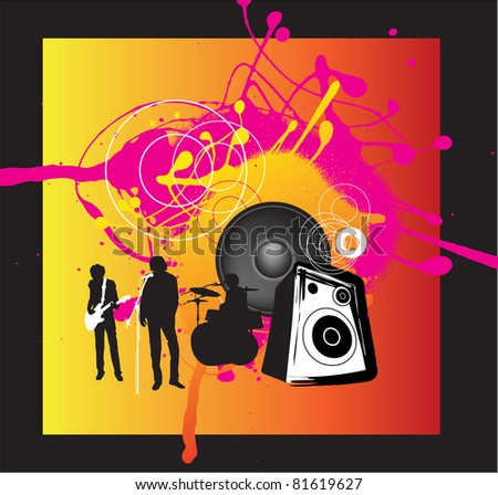 music band with singer, guitarist and drums on funky bright grunge background