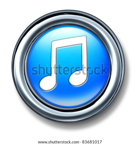 music button represented by a blue plastic circle with a