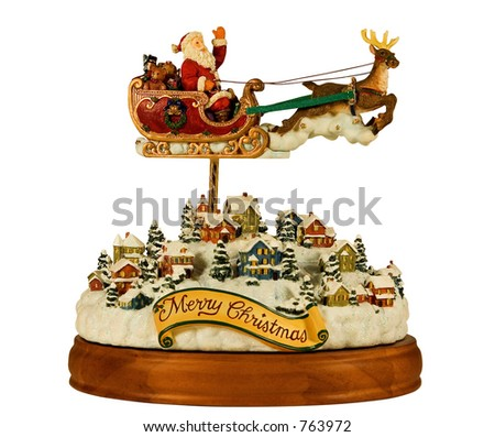 music carousel santa and his sleigh, includes clipping path