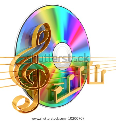 Music CD . 3d rendered illustration .