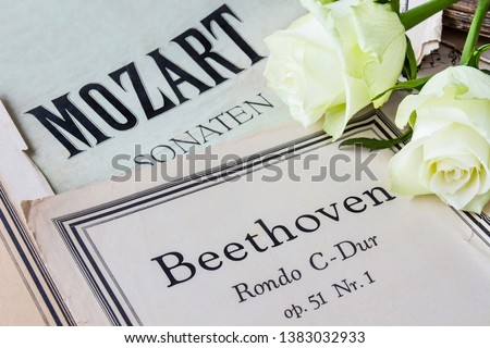 Music classics notes and roses