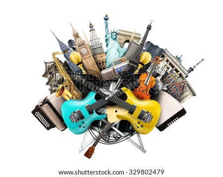 Music collage, musical instruments and world landmarks - Shutterstock ID 329802479