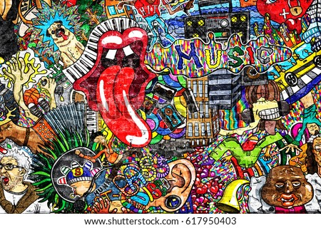 Shutterstock Music collage on a large brick wall, graffiti
