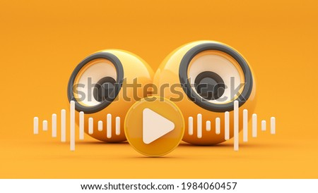 Music column, sub-woofer with a mobile phone and flying notes - 3d render.Concept for online music, radio, listening to podcasts, books at full volume. Digital illustration for mobile music app, song.