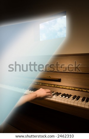 Music composer in a creative mental state