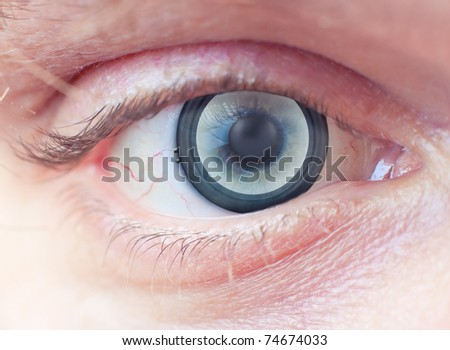 Music concept.  Music  speaker  instead of the iris of the human eye.  Collage - stock photo