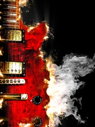 music concept with burn in fire and smoke design red electric guitar isolated on black background in dark
