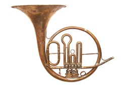 Music conceptual image. Old vintage horn on isolated background.
