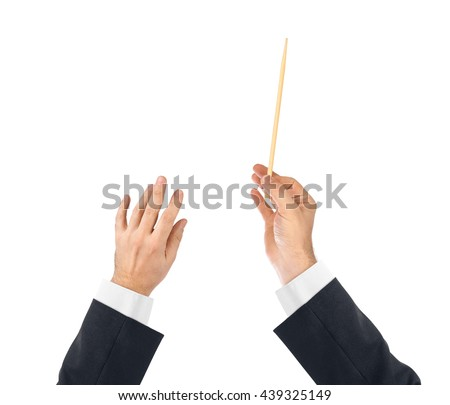 Music conductor hands isolated on white background #439325149