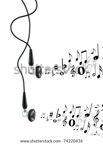 Music earphones isolated against a white background