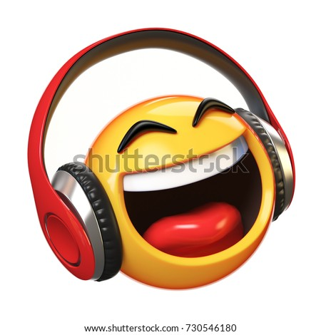 Stock Photo Music emoji with headphones isolated on white background, emoticon with earphones 3d rendering