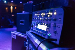 Music equipment console  amplifier in live concert