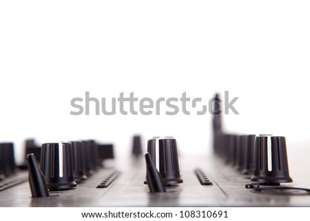 Music equipment over a white background