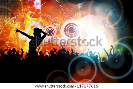 Music event illustration. Dancing people - stock photo